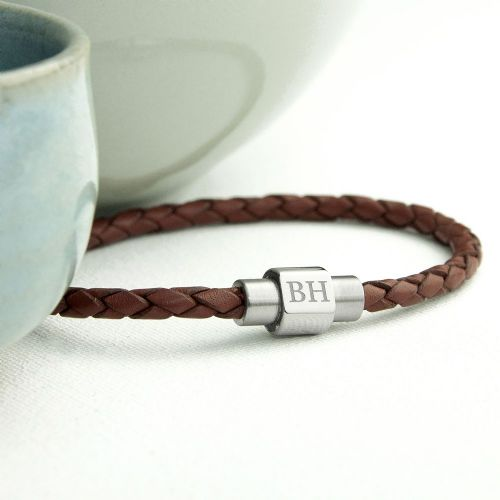 Personalised Woven Leather Bracelet 3 colours